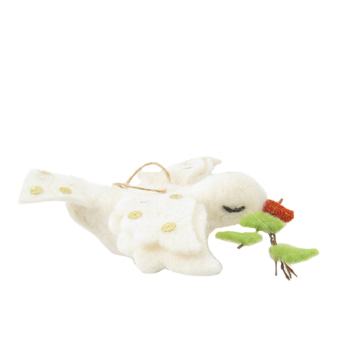 CLEARANCE - Felt Peace Dove Ornament