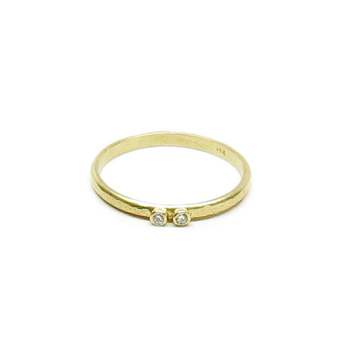 CLEARANCE - Weathered 14K Gold Two Diamond Ring