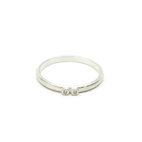 CLEARANCE - Weathered Silver Two Diamond Ring