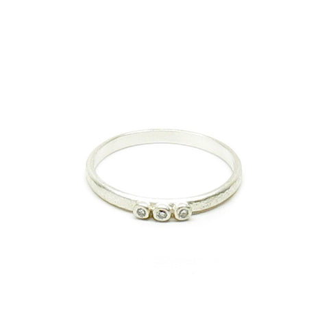 CLEARANCE - Weathered Silver Three Diamond Ring