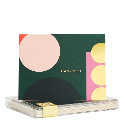 Pink Circle Geo Thank You Card Set