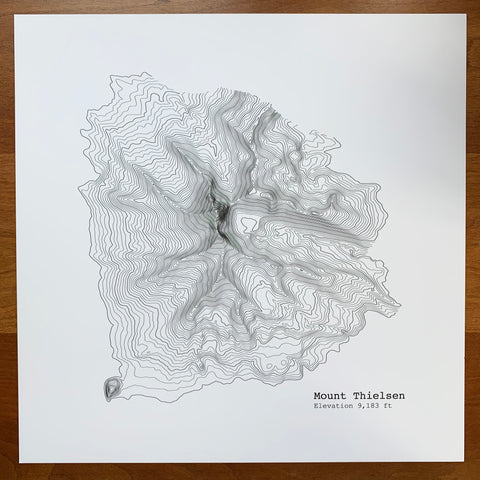 CLEARANCE - Mt. Thielsen Topographic Map Print