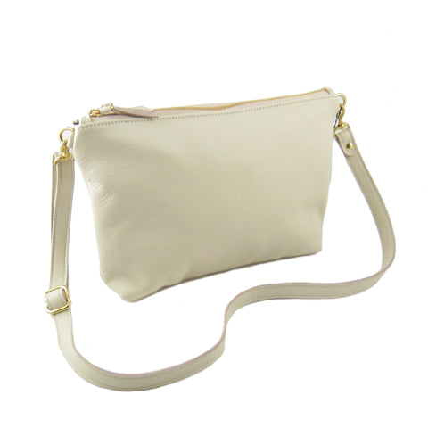 Mini Leather Hobo Bag Cream - Sale