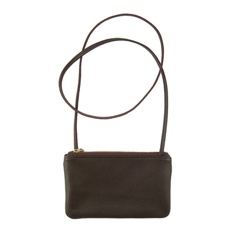 Leather Micro Crossbody Bag Coffee - Sale
