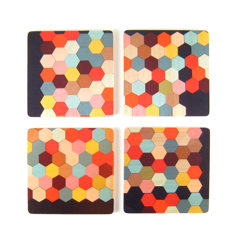 Honeycomb Square Coaster Set