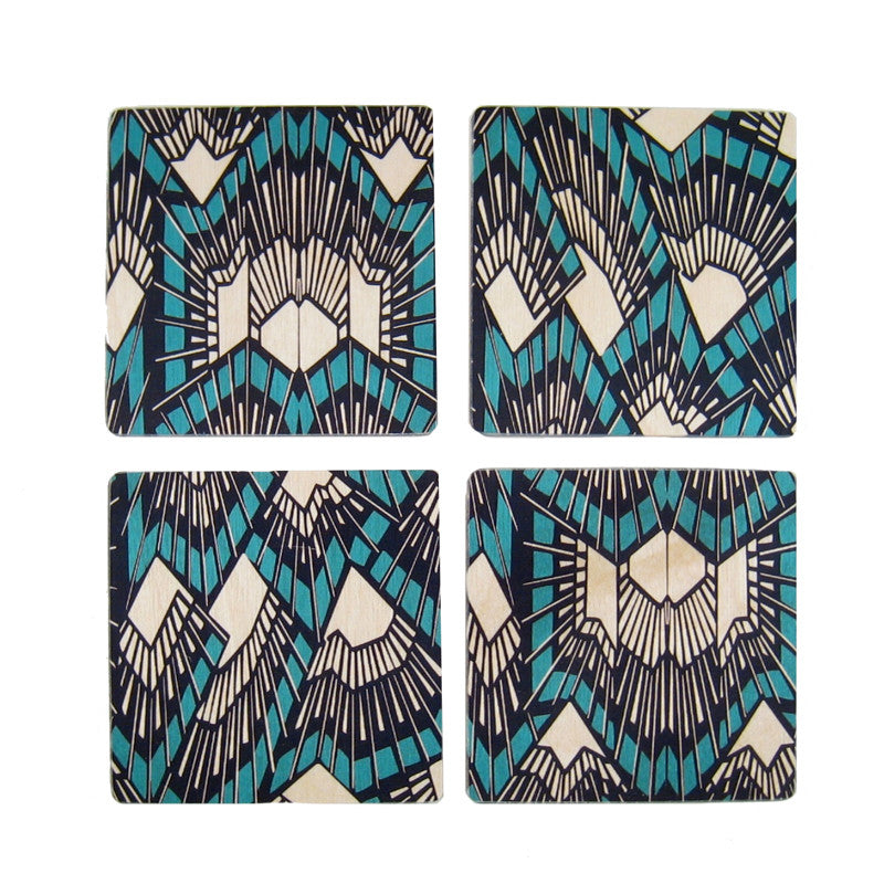 Deco Teal Coaster Set
