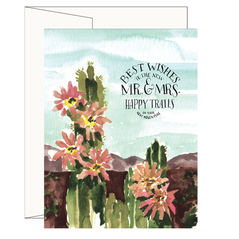 Cactus Mr. and Mrs. Wedding Card