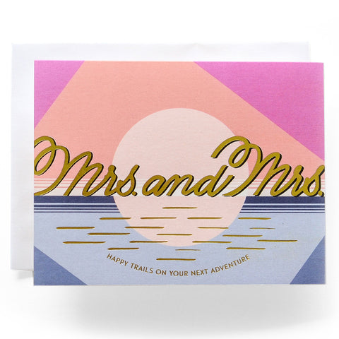 Modern Mrs. and Mrs. Wedding Card