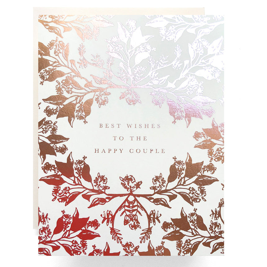 Rose Gold Happy Couple Wedding Card