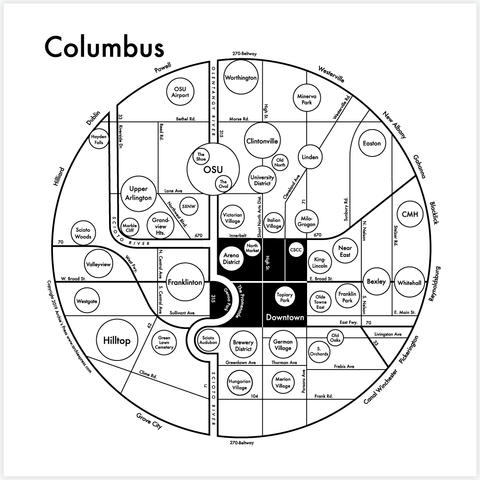 CLEARANCE - Archie's Press Columbus Small Map Print