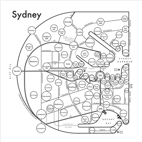 CLEARANCE - Archie's Press Sydney Small Map Print