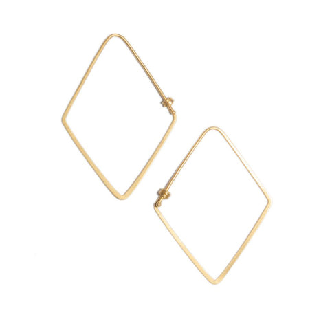 Small Rhombus Dainty Hoop Earrings