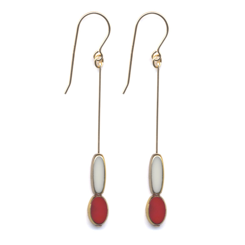 Long White Red Drop Earrings