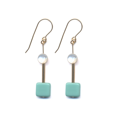 Deco Square Mother Pearl Earrings