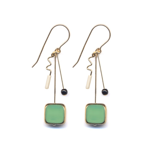Square Drop Squiggle Earrings