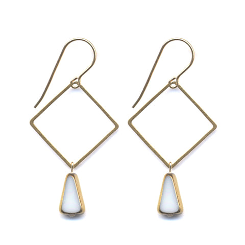 Triangle Drop Brass Square Earrings