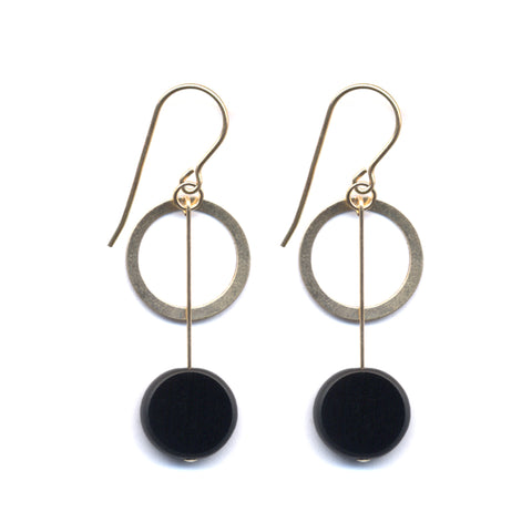 Circle Drop Gold Ring Earrings