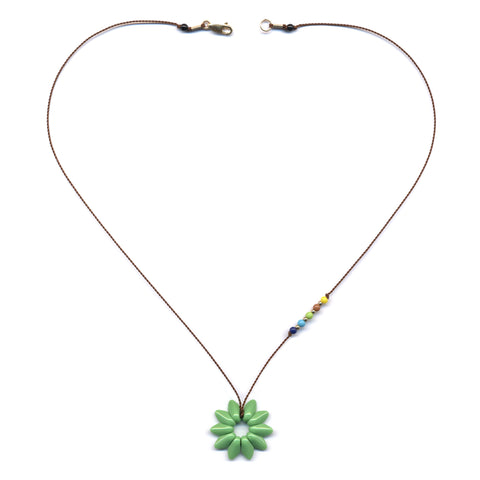 Small Green Flower Pendant Necklace