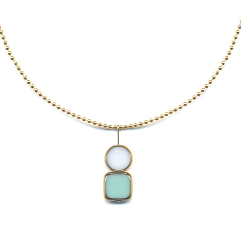 Circle Square Charm Necklace