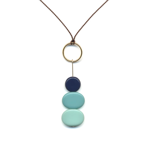 Stacked Blue Pendant Necklace