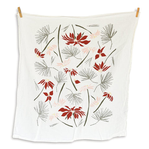 Poinsettia and Pine Tea Towel