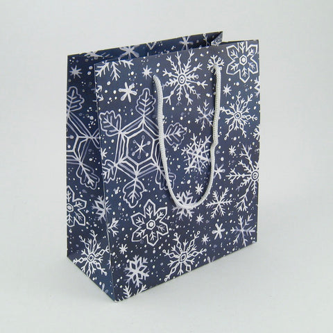 CLEARANCE - Medium Navy Snowflake Gift Bag
