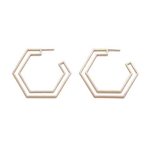 Large Double Hex Earrings