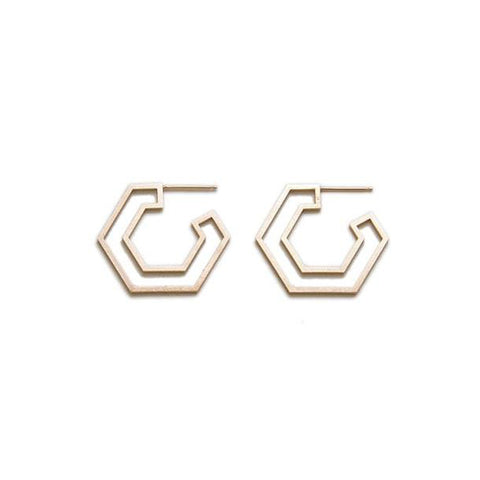 Small Double Hex Earrings