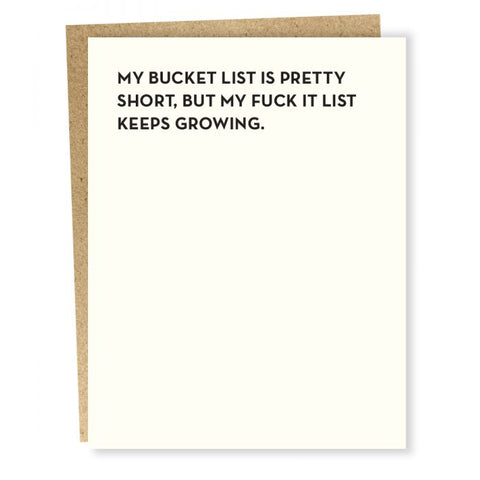 Bucket List Card