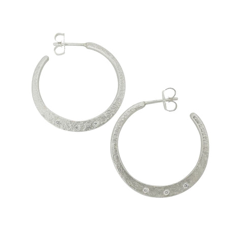 Weathered Diamond Hoop Earrings