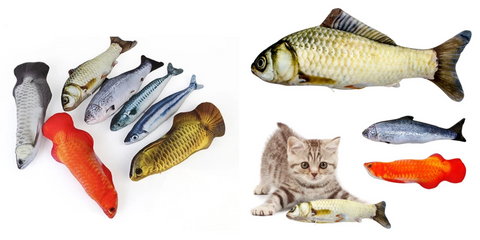 Our Cat Kicker Fish Toy is available in 9 variants