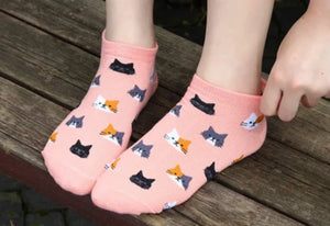 Kitty Pattern Ankle Socks (5 Pack)