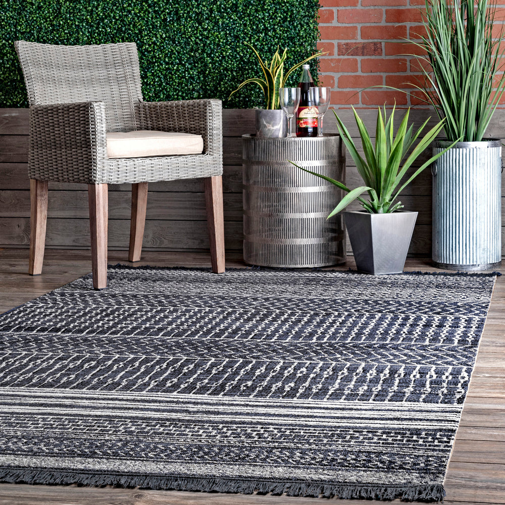 Saige Modern Banded Fringed Indoor/Outdoor