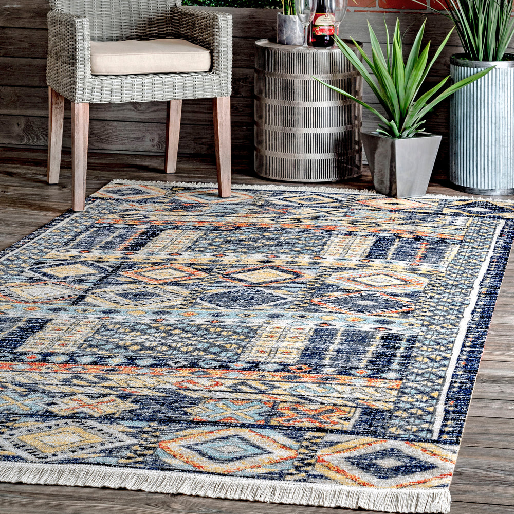 Taliyah Faded Bohemian Fringed Indoor/Outdoor