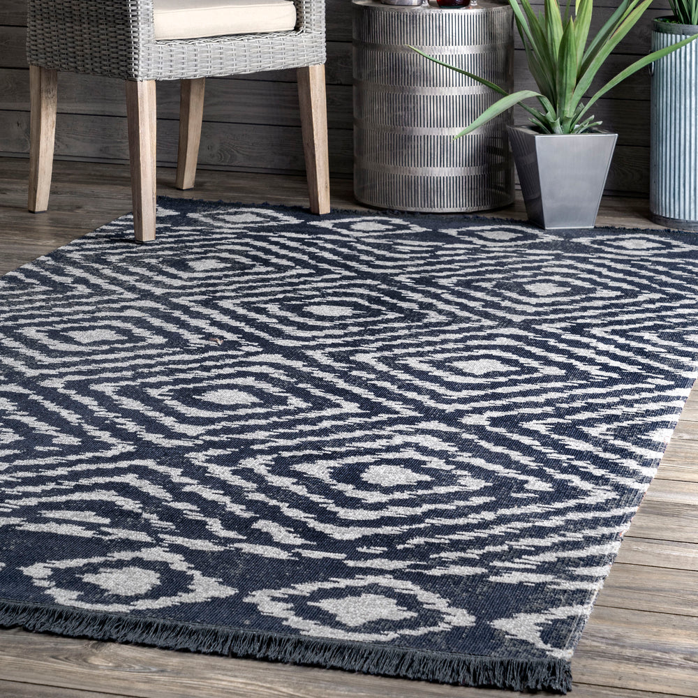 Zaria Diamond Tiles Fringed Indoor/Outdoor