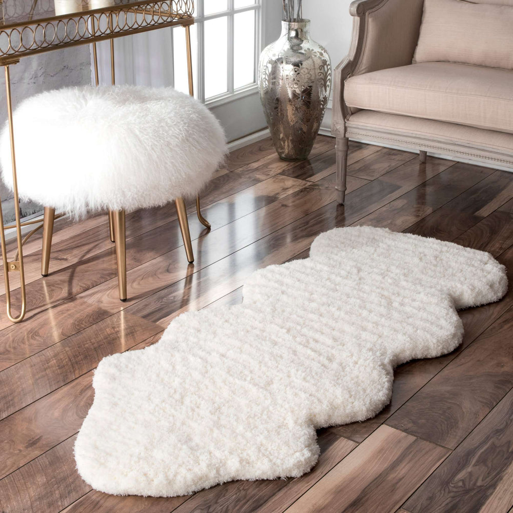 Hand Tufted One and a Half Piece Faux Sheepskin