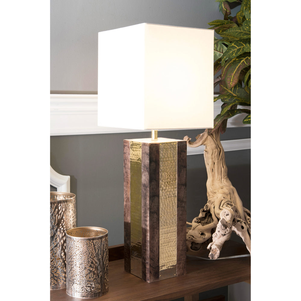 "Chandler 25"" Wood & Brass Table Lamp"