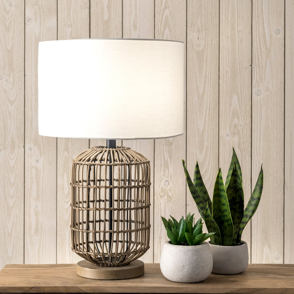 "Gretna 25"" Rattan & Iron Table Lamp"