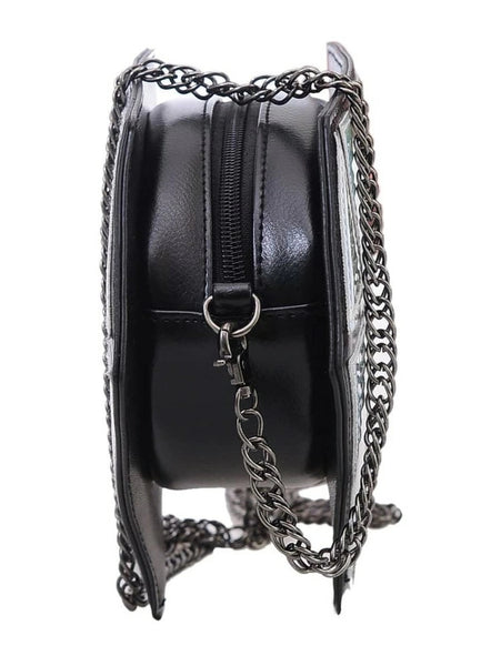 Metallic Silver Diamond Chain Bag