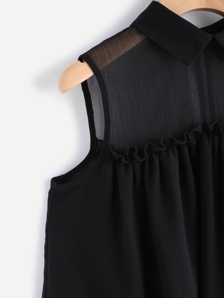 Mesh Shoulder Sleeveless Frill Trim Layered Top