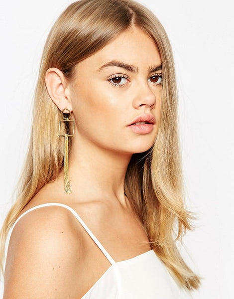 Chain Drop Shapes Earring