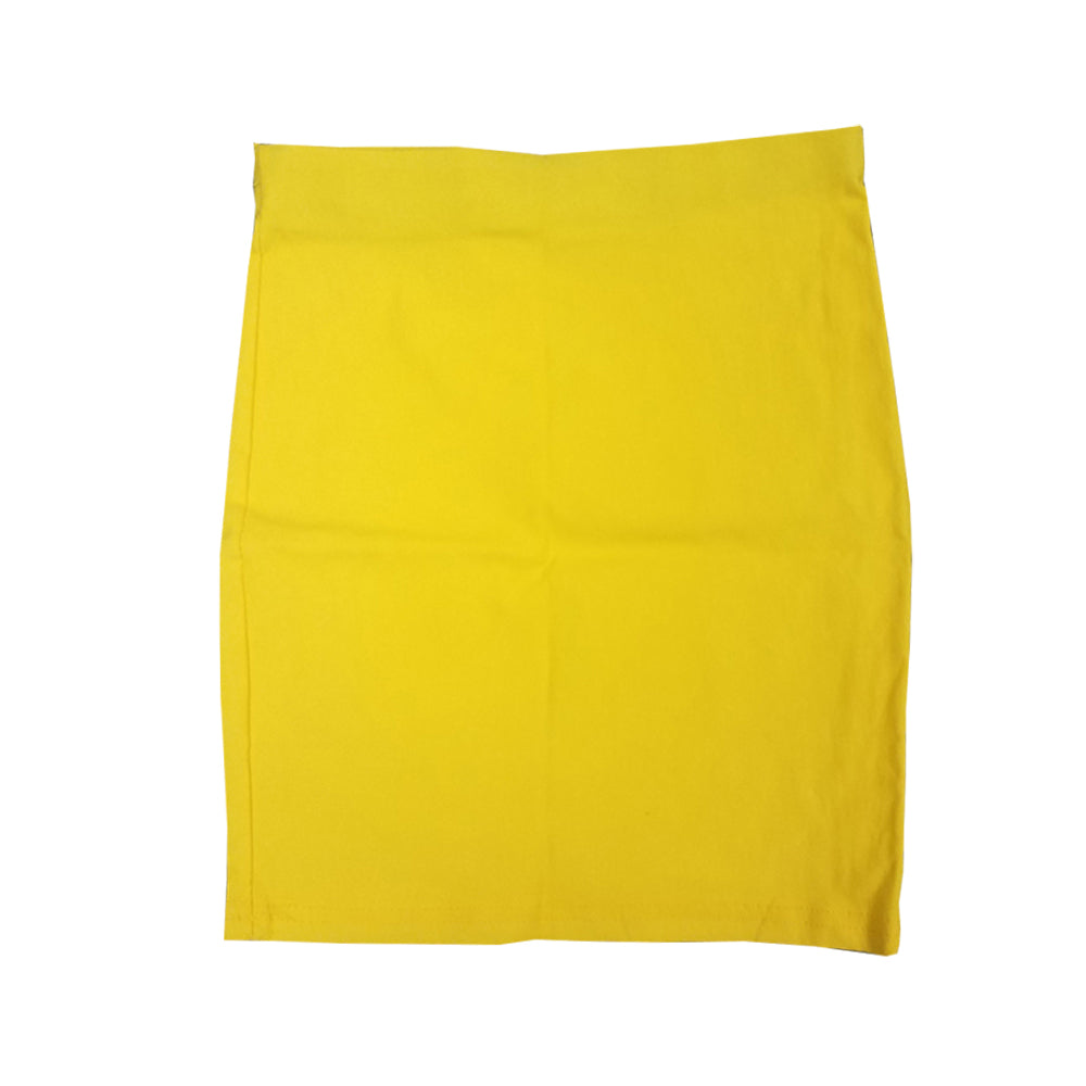 ELASTIC WAIST BODYCON SKIRT - YELLOW