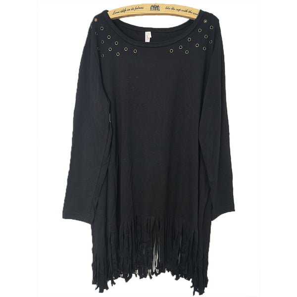 Black Cut Out Short Sleeve T-shirt With Tassels Hem