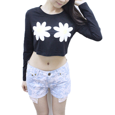 Flower Short Long Sleeve Top