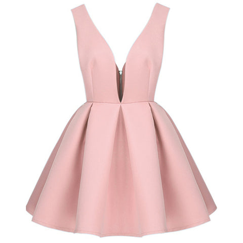 Pink Zippered V Neck Backless Midriff Heart Flare Dress