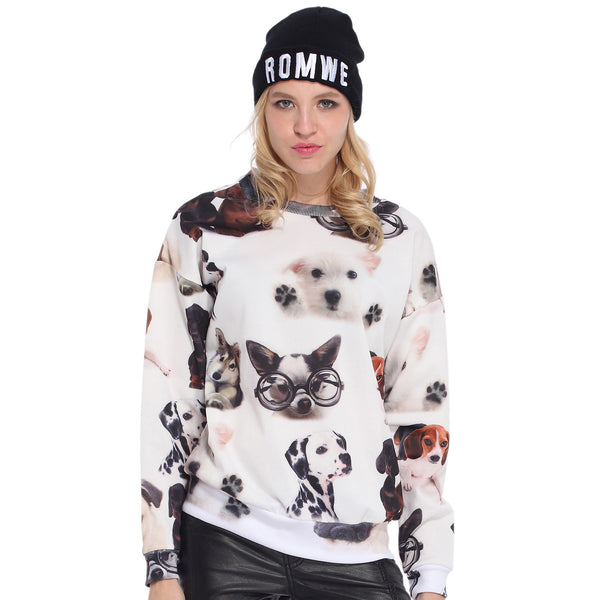Doggies Print White Sweatshirt