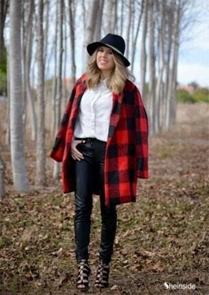 Black Red Plaid Lapel Long Sleeve Pockets Coat