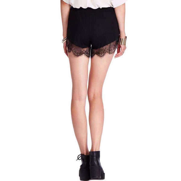 Hollow Out Lace Trim Black Hot Shorts