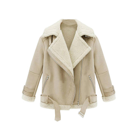 Shearling Lapel Biker Coat