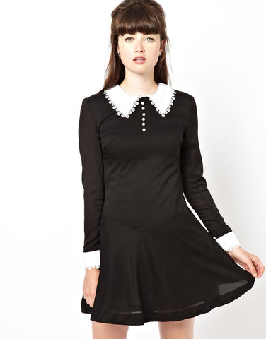 Swing Dress with Lace Collar and Cuff